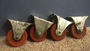 Lot Of 4 Small Vintage 3 1 2x1 5 16 Industrial Factory Cart Caster Swivel Wheel