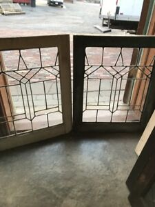 Sg 1697 Match Pair Antique Leaded Glass Fire Side Windows 20 5 X 25 H