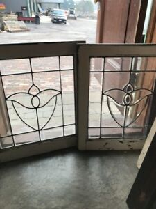 Sg 1702 Match Pair Antique All Beveled Glass Tulip Windows 22 5 X 25