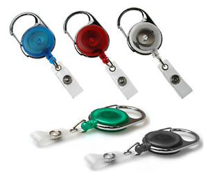 Heavy Duty Carabiner Retractable Badge Reel With Strap For Id Card Holder