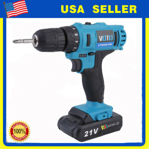 21v Max Lithium ion Cordless Hammer Driver drill 1 4 Hex Hand Power Tool Usa