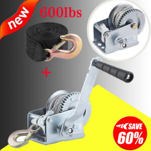Heavy Duty 600lb Hand Winch For Auto Boat Trailer Tool Tow Puller W 2 Strap Bp