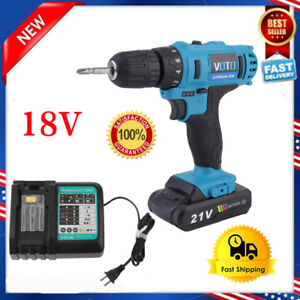 18v Lithium ion Cordless Hammer Driver drill 1 4 Hex Hand Tool W Charger Us Bp