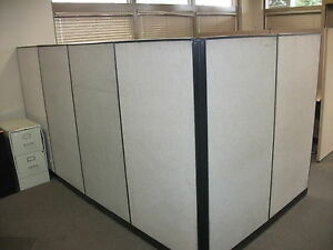 Office Cubicle W six Partitions Corner Desk Included Modular Used