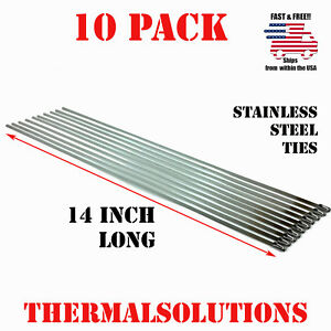 10pc 14 Stainless Steel Zip Tie Cable Strap Band Clamp Exhaust Pipe Header Wrap
