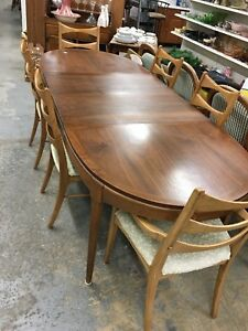Mid Century Lane Bowtie Dining Chairs Set Of 6 Table W 2 Leafs And Cover