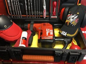 Hilti Te 25 Hammer Drill Heavy Duty Case Free Bits Chisel Laser Knife And More