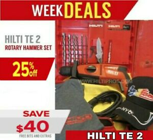 Hilti Te 2 Hammer Drill preowned Free Bits Extras Fast Ship