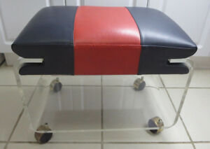 Clear Acrylic Lucite Vanity Stool Bench Hollywood Regency