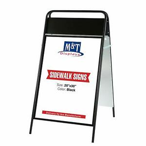 Sidewalk Sign With Magnetic Cover A Frame Sandwich Board Iron Black 20 X 30