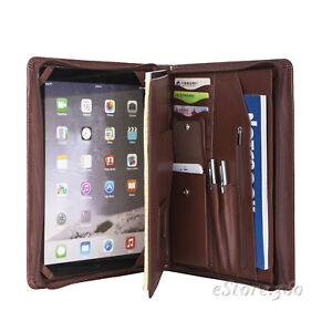 Genuine Leather Portfolio Zippered Padfolio Organizer Case Holder Card Folder