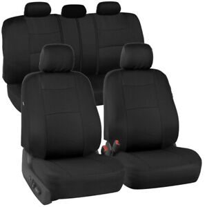 Full Black Car Seat Covers Set 5 Headrests 60 40 Split Bench For Auto Suv 9pc