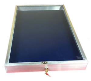 Aluminum Display Case End Opening 22 X34 X 31 4 Knives Cards Gun With Blue Liner