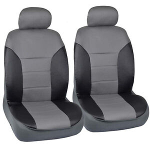 Fitted Seat Covers Gray Black 2 Tone Pu Leather For Honda Civic Sedan
