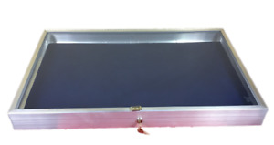 Aluminum Display Case Side Opening 22 X 34x31 4 Knives Cards Gun With Blue Liner