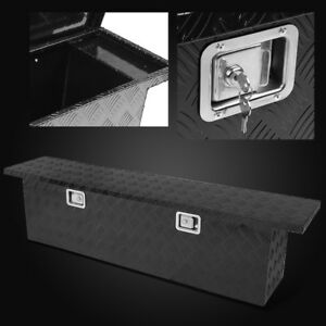 60 Truck Bed trailer underbody Aluminum Tool Box Tote Storage Black Pickup rv