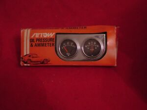 Nos Vintage Arrow Gauge Set Ammeter Oil Pressure Street Rat Rod Day Two New