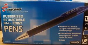 12 1dz New Skilcraft Recycled Rubberized Retractable Ball Point Pen Blue Medium