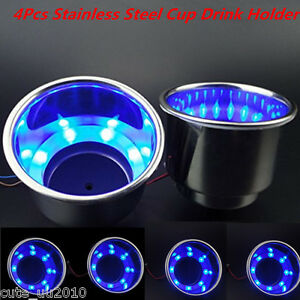 4x8led s 12v Blue Stainless Steel Cup Drink Holder For Marine Boat Car Truck Suv