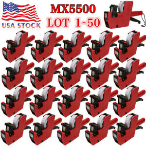 Mx 5500 8 Digits Price Tag Gun 200 White W Red Lines Labels 1 Ink Label Lot Bp