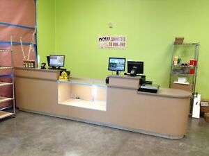 Retail Store Counter Two Register Positions Beautiful Glass Display Case