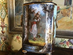 French Paris Porcelain Jardiniere Cache Pot Vase C1860s Hand Painted Girl Dog