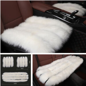3pcs One Level Long Wool Car Seat Covers Home Cushions Full Set For Front