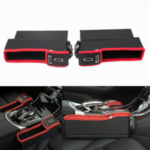 1 Pair Pu Leather Car Front Seat Side Storage Organizer Box Bags W Cup Holder