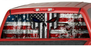 American Flag Fire Fighter Punisher Skull Rear Window Perforated Decal Truck Ute