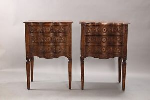 1920s Antique Antique Pair Of Carved Nightstands With Drawers 10833