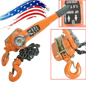 3000lb Us Lever Block Hoist Chain Ratchet Puller 1 5t Lift Safe Auto Operating