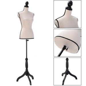 Beige Female Mannequin Torso Dress Form Clothing Display W black Tripod Stand