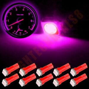 10x Car T5 5050 1smd Interior Dash Pink Led Light Bulbs 74 17 18 37 70 73 2721