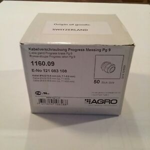 Agro Cable Glands Progress Nickel plated Brass Pg 9 Thread 1160 09 50 Pc box