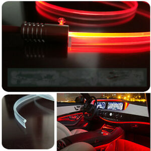 Red Car Led Interior Ambient Light Decorative Lamp Optical Fiber Light 4 Source