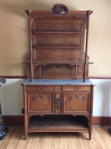 Circa 1890 French Carved Oak And Marble Sideboard Buffet Cabinet Fine Dining