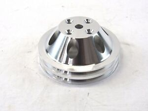 Sbc 350 Aluminum 2 Groove Long Water Pump Pulley Polished Bpe 5011p
