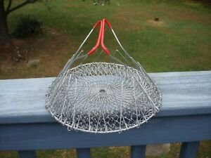 Vtg Collapsible Wire Egg Basket Fruit Strainer Red Rubberized Handles
