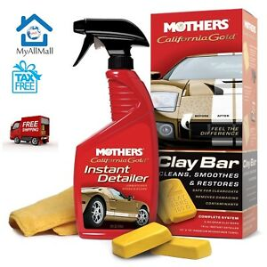 Mothers California Gold Clay Bar System Waxes Kit Car Auto Polish Instant Wash