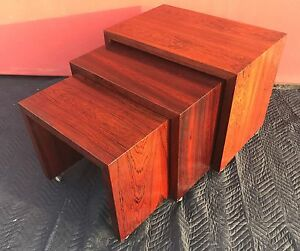 Mid Century Modern Brown Saltman Rosewood Stacking Nesting Table Set 3 Mcm Rare