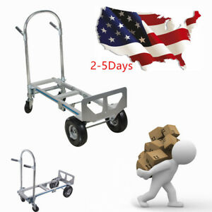 Ce 2in1 Hand Truck Aluminum 770lbs Height Convertible 2wheel Dolly 4 Wheel Cart