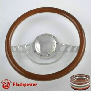 15 5 Billet Steering Wheels Wood Full Wrap Ford Gm Corvair Impala Chevy Ii