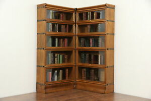 Corner Pair Of 5 Stacking Oak Antique Lawyer Bookcases Signed Macey
