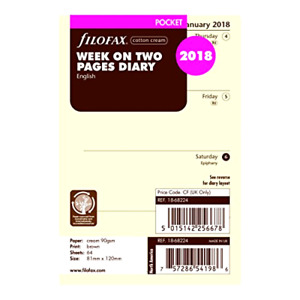 2018 Filofax Pocket Size Refill 18 68224 Cotton Cream Week On Two Pages