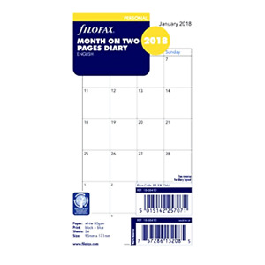 2018 Filofax Personal Size Refill 18 68410 Month On Two Pages 95mm X 171mm