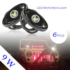 6pcs 9w Led Rock Light For Jeep Offroad Truck Under Body Trail Rig White Lamp