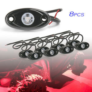 8pcs 9w Led Rock Light For Jeep Offroad Truck Under Body Trail Rig Red Lamp