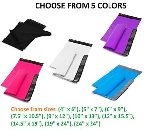 50 1000 Poly Mailers Shipping Envelopes Self Sealing Plastic Mailing Bags Color
