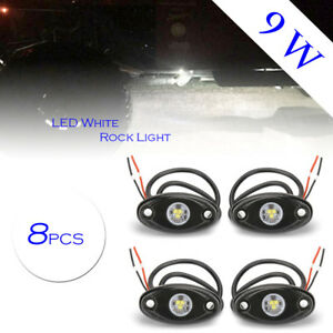8x White 9w High Power Led Rock Light Kit For Jeep Truck Suv Off road Boat