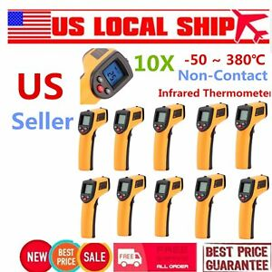 10pcs Non contact Lcd Ir Laser Infrared Digital Temperature Meter Thermometer Us